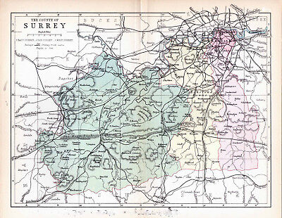 Map of the County of Surrey, England.