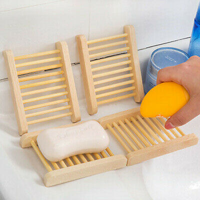 Natural Wood Soap Tray Holder Dish Bath Shower Soap Box Plate Home Storage