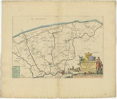 Antique Map of the Dongeradeel township (Friesland) by Halma (1718)