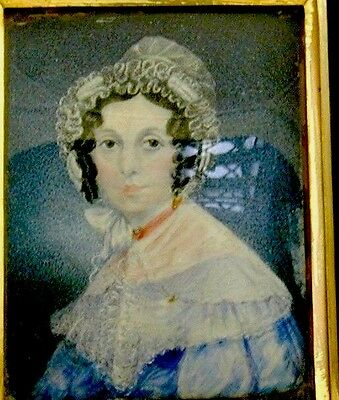 Victorian Handpainted antique miniature painting in ebonised wood and gilt frame