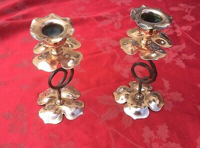 Stunning Pair of Copper And Steel Arts And Crafts Floral Candlesticks Nouveau