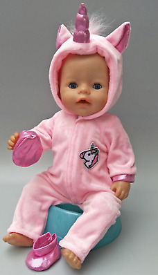 """Doll clothes for 43cm born Baby doll coat unicorn hoodie set 17"""" reborn baby dol"""
