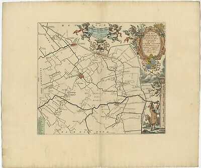 Antique Map of the Menaldumadeel township (Friesland) by Halma (1718)