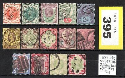 Lot #Y395 - SG197-214 - Jubilee Issue Set of 14 - 1887-1900 - CV £375