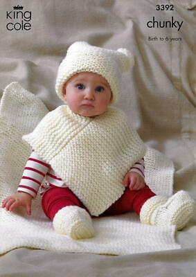 Baby girls Poncho hat booties Shawl KNITTING PATTERN Chunky 0 - 6 yrs 16 - 26in