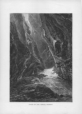 Switzerland Alps Print Illustration from a Book Tamina Gorge