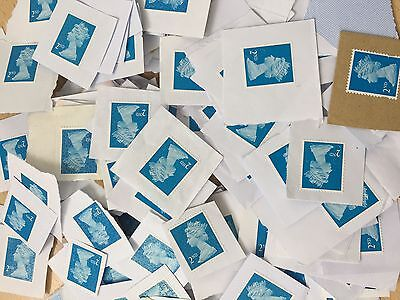 100 x UK Royal Mail Blue 2nd Class Unfranked Security Stamps On Paper - Face £61