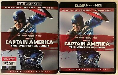 Marvel Captain America The Winter Soldier 4K Ultra Hd Blu Ray 2 Disc + Slipcover