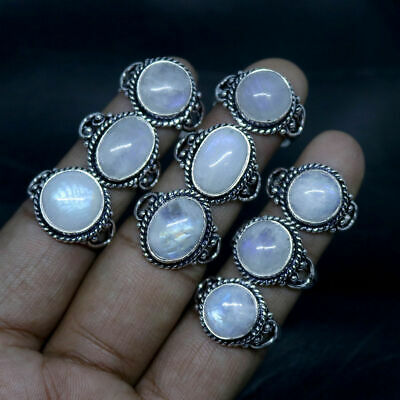 Awesome Sale !! Natural Rainbow Moonstone Stone Silver Plated Rings