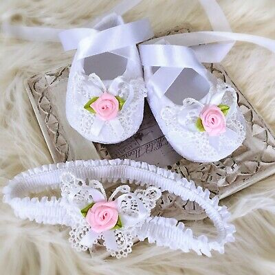 09e204535281f Baby Girl White Christening Baptism Shoes Crochet Butterfly Pink Roses  Headband