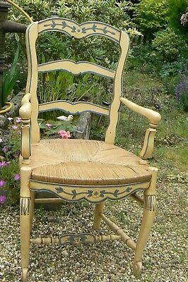 Lovely Antique / Vintage French Original Painted Open Arm Chair