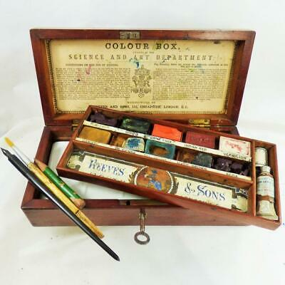 REEVES and SONS RARE WATERCOLOUR ARTISTS PAINT BOX c1870 ANTIQUE SCIENCE AWARD