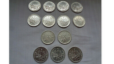 Lot De 13 Pieces De 5 Francs Argent Semeuse  8 X 1960   2 X 1962     3 X 1963