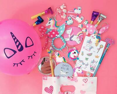Pre Filled UNICORN Party Bags Girly Girls Kawaii Pink Loot 10 ITEMS in Each Bag!