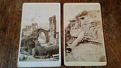 1870'S Antique Cdv Photograph X2 Hastings Castle & Lovers Seat East Sussex