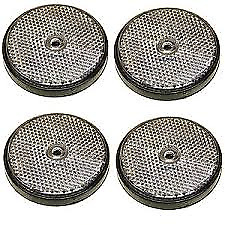 Pack of 4 Trailer Clear White Round Front Reflectors - Bolt on - 60mm Dia
