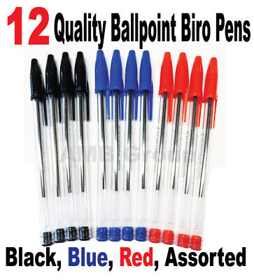 12 High Quality Ballpoint Biro Pens. Black, Blue, Red, Assorted Available Medium