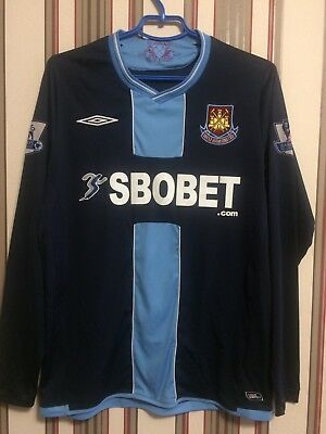 WEST HAM UNITED 2009/10 ENGLAND L/S ORIGINAL SHIRT JERSEY  Soccer UMBRO Sz M