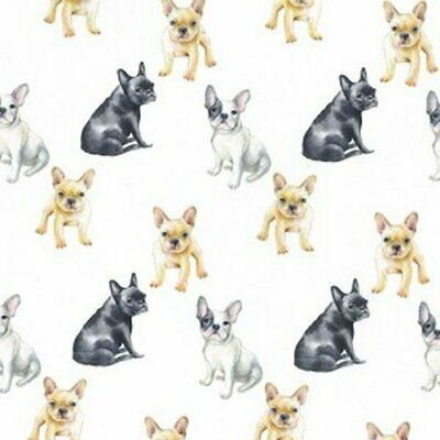 Cotton French Bull Dog Fabric Material Fabrics Dogs Cotton 150 Cm Wide Crafting