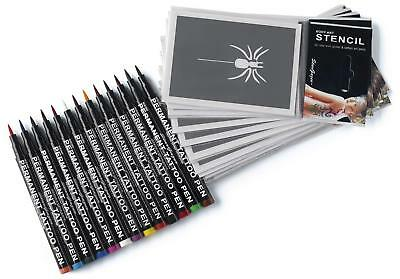 Semi-Permanent Tattoo Pen Kit. 13 Shades Of Up To 24 Hour Strong Colour For Art