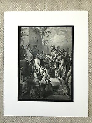 Jesus Christ Blessing the Children Old Bible Victorian Engraving Antique Print