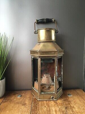 ANTIQUE c1914 ELI GRIFFITHS BRASS BULKHEAD SHIP OIL LAMP LANTERN LIGHT NAUTICAL