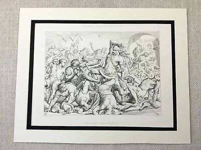 Antique Print Norse Viking Warrior in Battle Old English Legend of Hereward