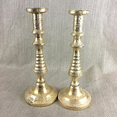 Pair of Brass Candlesticks Candlestick Engraved Indo Persian Vintage Tall