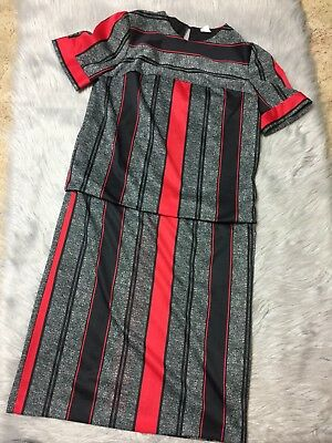Vintage 80s Womens Red Black Stripe Shoulder Pad Polyester Dress Sz 12