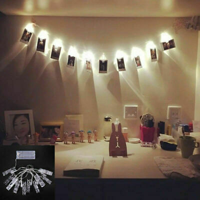 10/20/40PCS LED Photo Peg Clip Fairy String Light Wedding Hanging Picture Photo