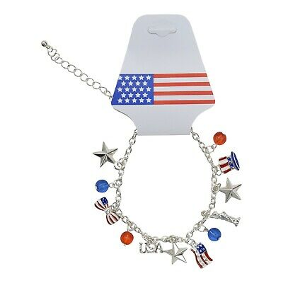 "USA Patriotic Charm Necklace - 16"" 4th of July American Flag Stars and Stripes"