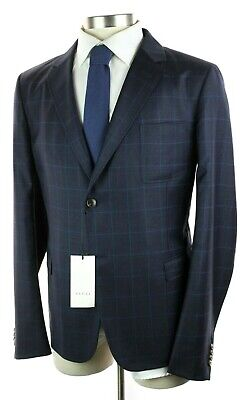 70d1409e NWT $1795 GUCCI Navy Check Wool Cambridge Jacket Sport Coat Slim 46 R Fits  44 R