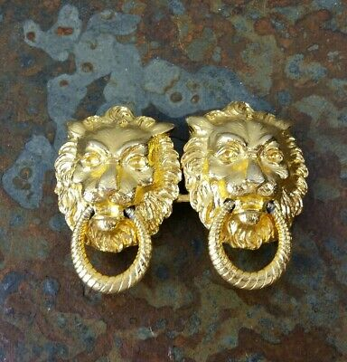 Vintage Dotty Smith Gold Lion Knocker 2 Piece Womens Belt Buckle
