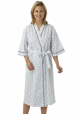 Ladies Floral Poly Cotton Wrap/Dressing Gown Pink,Lilac or Blue - Size 12-30