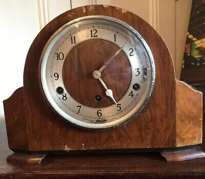 Vintage Deco Garrard Mantle Clock Whittington And Westminster Chimes Key Inside