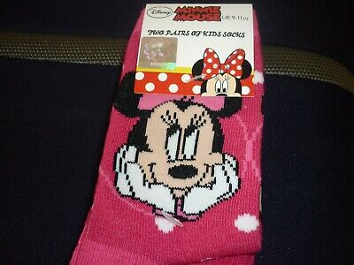 Two pairs of kids Disney Minnie Mouse Socks UK 9-11 1/2