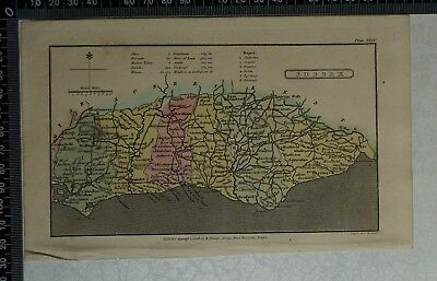 1808 Antique Original Hand Coloured Capper Map of Sussex