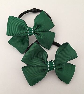 2 Packs Of Double Ribbon Green Hair Bow Bobbles/hair Accessorise/School Uniform