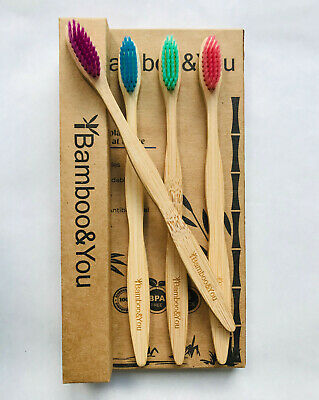 Bamboo Toothbrush 4 Pack Multi-Coloured 100% Biodegradable Same Day Dispatch!!!