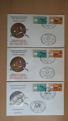 3 Briefe mit Marken FIFA World Cup 1974