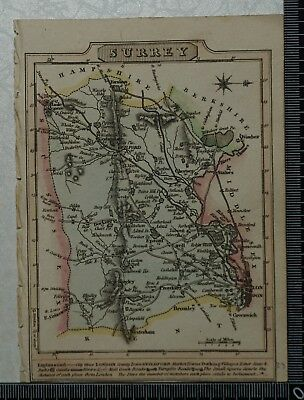 1810 Antique Map of Surrey engraved by J. Wallis