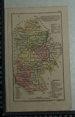 1808 Antique Original Hand Coloured Capper Map of Bedfordshire