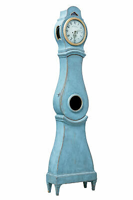 19Th Century Painted Swedish Long Case Mora Clock