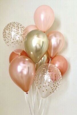 Rose Gold Peach Clear Confetti PARTY BALLOONS 16th 18th 21st 30th 40 50 Birthday