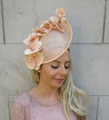 Large Peach Orchid Flower Saucer Disc Hat Fascinator Headband Floral Ascot 7198