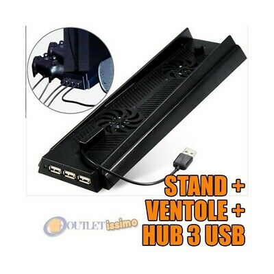 BASE VERTICALE VERTICAL STAND PS4 RICARICA CONTROLLER VENTOLA PLAYSTATION 3 in 1