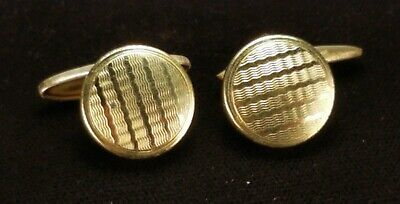 Vintage Antique Art Deco Cufflinks Gold Tone Made in England Foreign Pat 413063