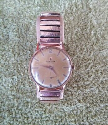 Antique Festina Wristwatch Vintage Gold Filled & Acer Inox Bracelet Good Patina