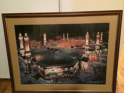Large Islamic Art Print • Framed Print Of Mecca In Beautiful Frame