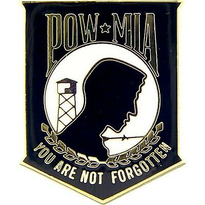 """YOU ARE NOT FORGOTTEN/"""" genuine Cloisonne//Brass-black  #14719 Hat Pin  /""""POW//MIA"""